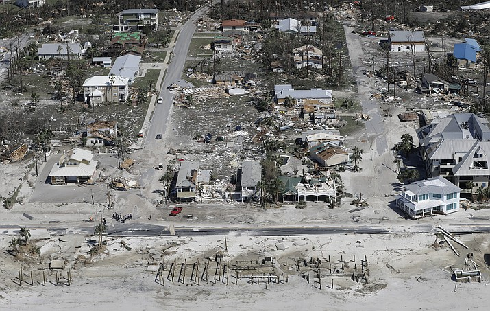 Homes destroyed by Hurricane Michael are shown in this aerial photo Thursday, Oct. 11, 2018, in Mexico Beach, Fla. (AP Photo/Chris O'Meara)
