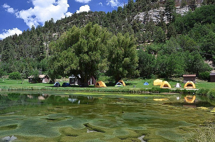 Reflections of the Hopi tents at the Big Springs Administrative area. (Dyan Bone/Kaibab National Forest
