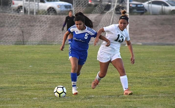 Camp Verde junior Amanda Lozanilla dribbles the ball upfield. VVN/James Kelley