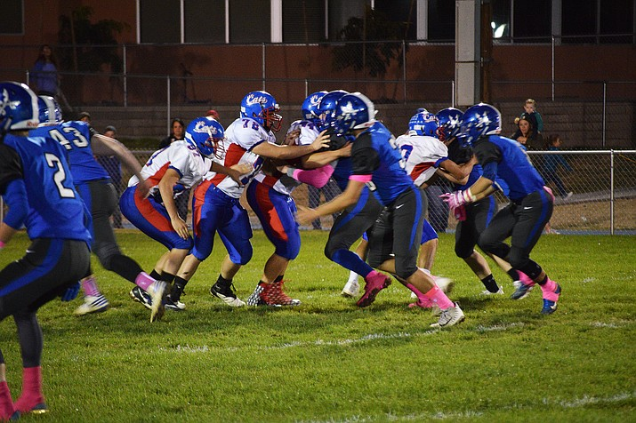 The Bagdad and Mayer football teams mix it up in the trenches Friday, Oct. 12, 2018, in Bagdad. (Sylvia Andrews/Courtesy)
