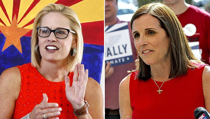 Rep. Kyrsten Sinema, D-Ariz., left, and Republican Martha McSally are seeking the seat being vacated by retiring Sen. Jeff Flake, which could determine which party controls the Senate next year. (Ross D. Franklin and Matt York/AP, file)