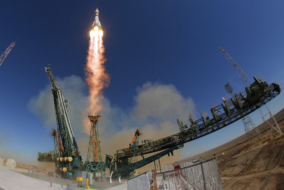 The Soyuz-FG rocket booster with Soyuz MS-10 space ship carrying a new crew to the International Space Station, ISS, blasts off at the Russian leased Baikonur cosmodrome, Kazakhstan, Thursday, Oct. 11, 2018.  Two astronauts from the U.S. and Russia were safe Thursday after an emergency landing in the steppes of Kazakhstan following the failure of a Russian booster rocket carrying them to the International Space Station. NASA astronaut Nick Hague and Roscosmos' Alexei Ovchinin lifted off as scheduled at 2:40 p.m. (0840 GMT; 4:40 a.m. EDT) Thursday from the Russian-leased Baikonur cosmodrome in Kazakhstan, but their Soyuz booster rocket failed about two minutes after the launch. (AP Photo/Dmitri Lovetsky)