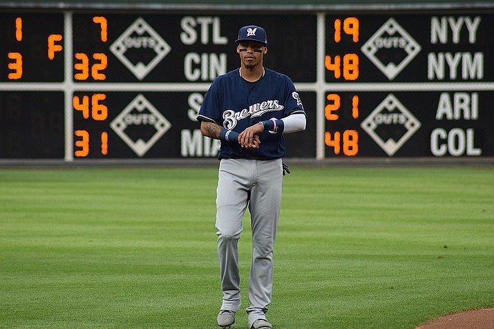 Orlando Arcia hit a two-run homer as the Milwaukee Brewers beat the Dodgers 4-0 for a 2-1 series lead Monday night in Los Angeles. It was Arcia's third home run of the postseason, matching his season total. (Ian D'Andrea file photo, cc-by-sa-2.0, https://bit.ly/2yHDHXh)