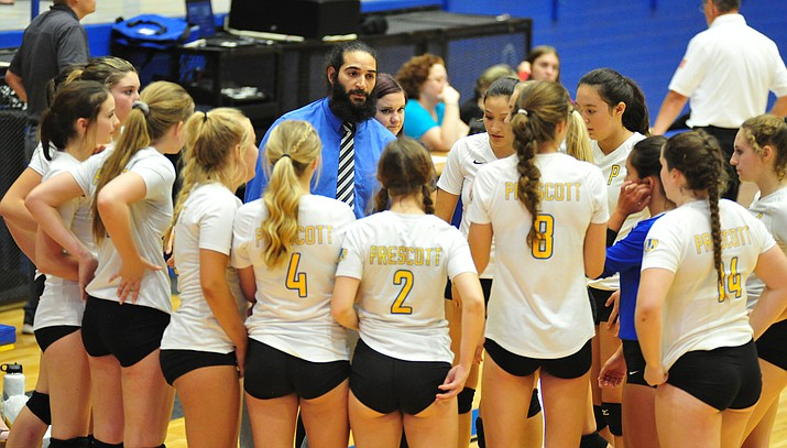 Prescott head coach Josiah Ramirez talks to his club during a timeout Sept. 6, 2018, in Prescott. The Badgers beat Mingus 3-1 on Tuesday, Oct. 16, 2018, in Cottonwood. (Les Stukenberg/Courier, file)