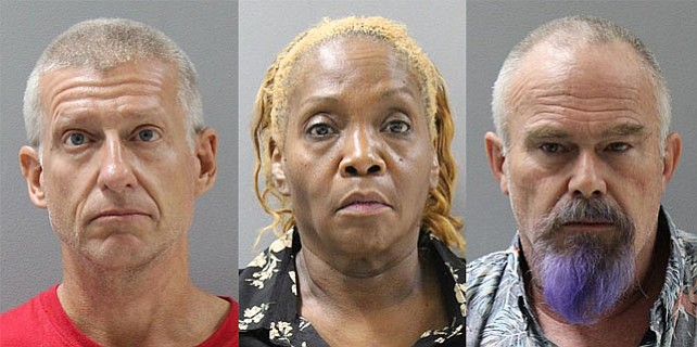 From left, Robert Greves, Debra Hernandez and Robert Kunard were all arrested for allegedly passing counterfeit $100 bills at Costco Monday, Oct. 15. (Courtesy)