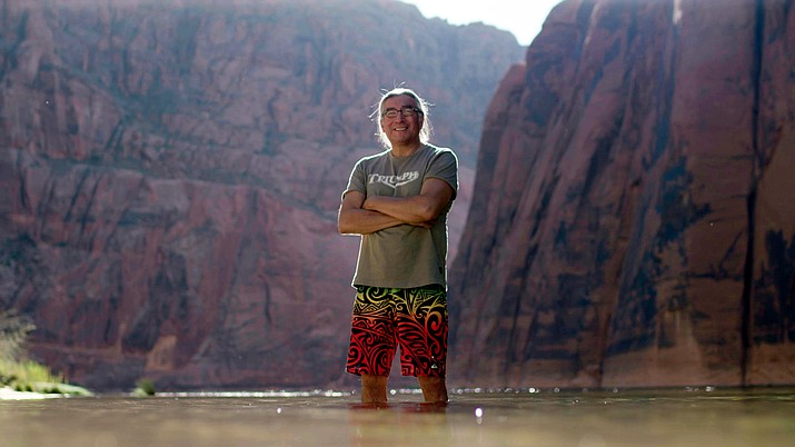 Zuni tribal member Jim Enote returns to the Grand Canyon, place of his people's emergence from the Earth in the new PBS series Native America, which premieres Oct. 23 on PBS stations. (Providence Pictures)