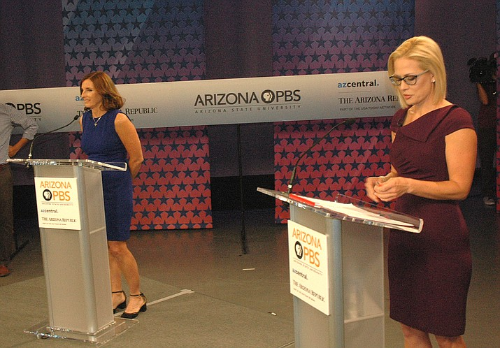 Martha McSally and Kyrsten Sinema faced off Monday in their only debate for U.S. Senate. (Capitol Media Services photo by Howard Fischer)