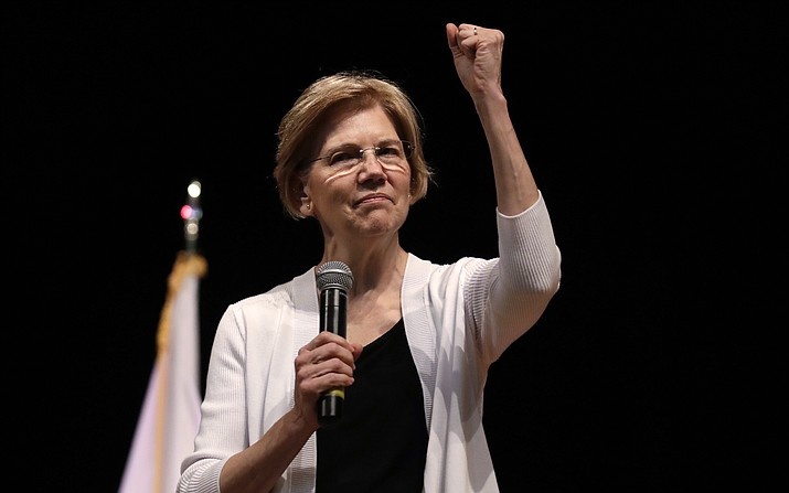 U.S. Sen. Elizabeth Warren, D-Mass., gestures during a town hall style gathering Aug. 8, 2018 , in Woburn, Mass. (Charles Krupa/AP file )