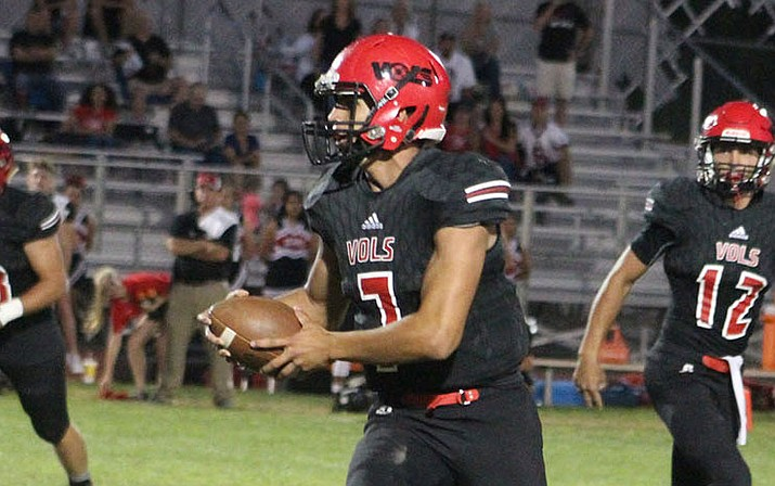 Vols senior quarterback Enzo Marino has rushed for 380 yards and five touchdowns this season. Marino looks to add to those numbers at 7 p.m. Friday against Prescott. (Daily Miner file photo)