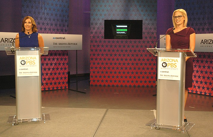 Martha McSally and Kyrsten Sinema face off Monday in their only debate for U.S. Senate (Capitol Media Services photo by Howard Fischer)