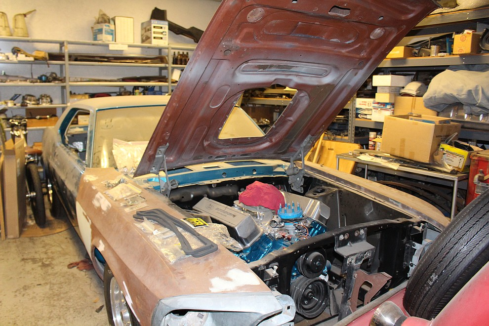 A 1970 Mustang is in the process of being restored at Dunton Motors.