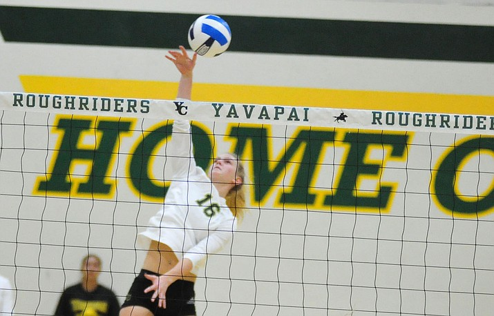 Yavapai's Lexi Cole (16) attacks the ball as the Roughriders host Scottsdale Community College on Wednesday, Oct. 17, 2018, in Prescott. (Les Stukenberg/Courier)