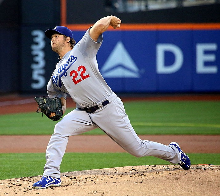 Clayton Kershaw allowed one run and three hits over seven innings. He struck out nine, all on breaking pitches, and walked two as the Dodgers beat the Milwaukee Brewers 5-2 Wednesday in Los Angeles for a 3-2 lead in the NLCS. (Arturo Pardavila file photo, cc-by-sa-2.0, https://bit.ly/2J55HZK)