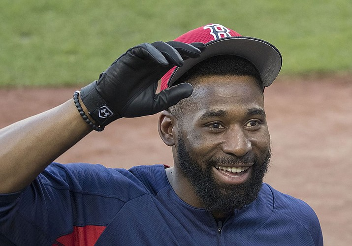 Jackie Bradley Jr. was named the American League Championship Series MVP as the Boston Red Sox eliminated the defending champion Houston Astros with a 4-1 victory, taking the AL Championship Series 4-1 Thursday. (Photo by Keith Allison, CC by 2.0, https://bit.ly/2AeDI6R)