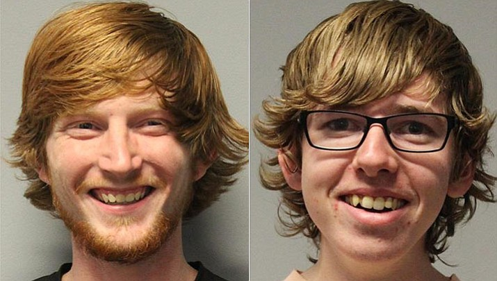 Dakoda Middleton, 22, left, and Andrew Johansen, 18, were arrested and booked into the Yavapai County jail on a combined total of eight felony charges and 60 misdemeanor counts. (Courtesy)