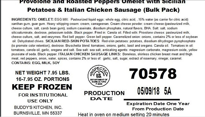 Authorities say a Minnesota frozen food and packing company is recalling more than 212,000 pounds of ready-to-eat pork and chicken products that contain vegetables that might be contaminated with salmonella and listeria.