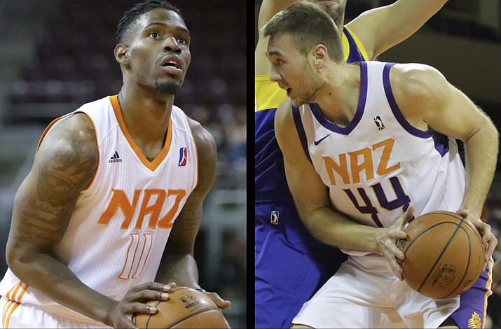 Derek Cooke Jr., left, and Eric Stuteville are two of 15 players on the training camp roster for the Northern Arizona Suns, which was released Sunday, Oct. 21, 2018. Training camp for the Suns begins Monday. (NAZ Suns/Courtesy)