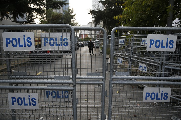 "Barriers block the road leading to Saudi Arabia's consulate in Istanbul, Sunday, Oct. 21, 2018. The chairman of the Senate Foreign Relations Committee says Saudi Arabia's Crown Prince Mohammed bin Salman ""crossed a line"" in the killing of journalist Jamal Khashoggi and must pay a price. Tennessee Republican Bob Corker says that based on his briefings he believes the royal known as MBS was behind the killing of the Saudi critic. (Lefteris Pitarakis/AP)"