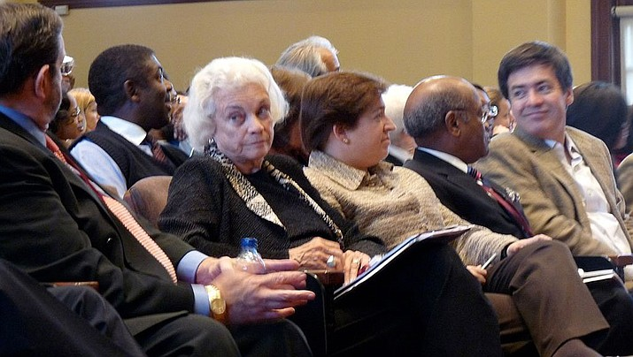 Sandra Day O'Connor, the nations' first female Supreme Court justice sits with current Justice Elena Kagan in October of 2008. O'Connor, 88, has stepped back from public life. (File photo by Harvard Law Record, cc-by-sa, 2.0, https://bit.ly/2PPIzRu)