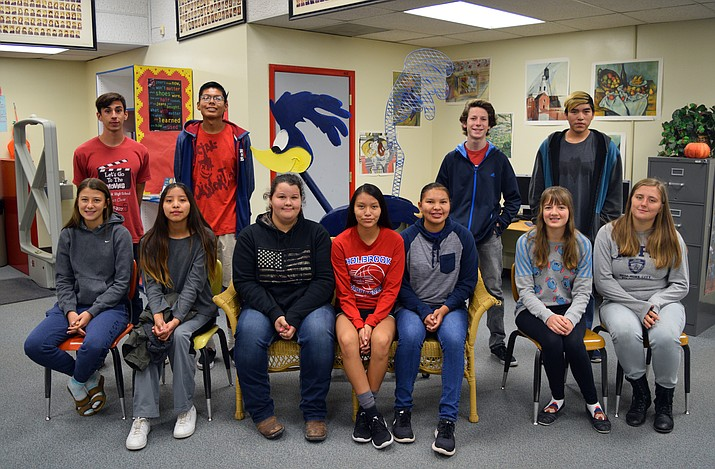 Holbrook High School congratulates its September Students of the Month. Standing from left: Jack Hardy (fine arts); Hayden Mike (male scholar-athlete); Preston Edwards (second language); and LeBron Lee (math). Seated from left: Kiah Dumuth (English); Shanaeyah Hill (CTE); Kayla Hager (Principal's selection); Hannah Nockideneh (math); Shandelariah Footracer (physical education); Elizabeth Parker (science); and Jade Knight (female scholar-athlete). Not pictured: Roseletta Notah (physical science); Korri Lee (second language); Calandra Yazzie (NAVIT); Robin James (social studies) and Janae Todacheenie (language arts). (Photo/Holbrook High School)