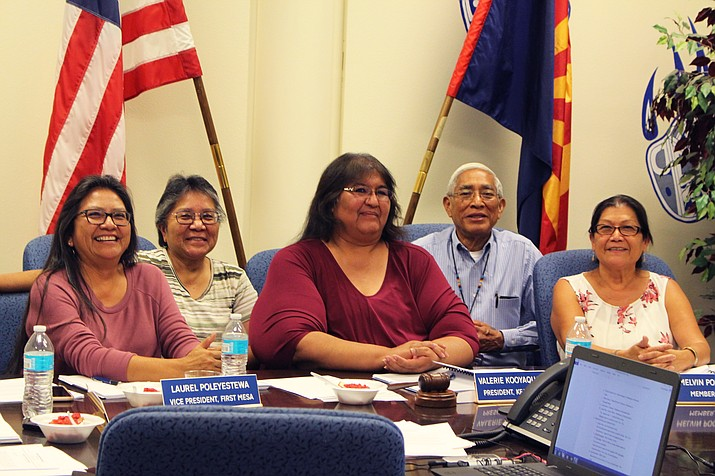 Hopi Jr/Sr High School Governing Board (from left) Vice President Laurel Poleyestewa, Clerk Sandra Dennis, President Valerie Kooyaquaptewa, and Board Members Melvin Pooyouma and Anita Bahnimptewa at the October board meeting. (Stan Bindell/NHO)
