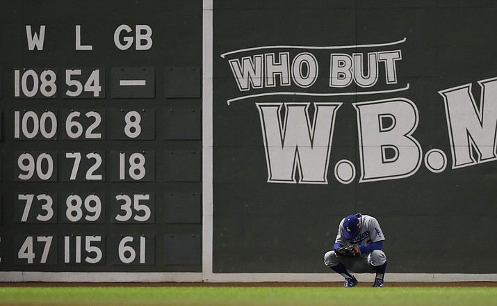 Los Angeles Dodgers outfielder Chris Taylor waits for a pitcher change during the eighth inning of Game 2 of the World Series against the Boston Red Sox Wednesday, Oct. 24, 2018, in Boston. (David J. Phillip/AP)