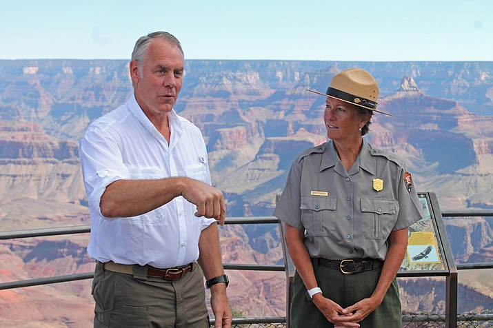 Interior Director Ryan Zinke meets with Grand Canyon Superintendent Chris Lehnertz Sept. 22 at the Grand Canyon. Lehnertz is being investigated for undisclosed allegations.