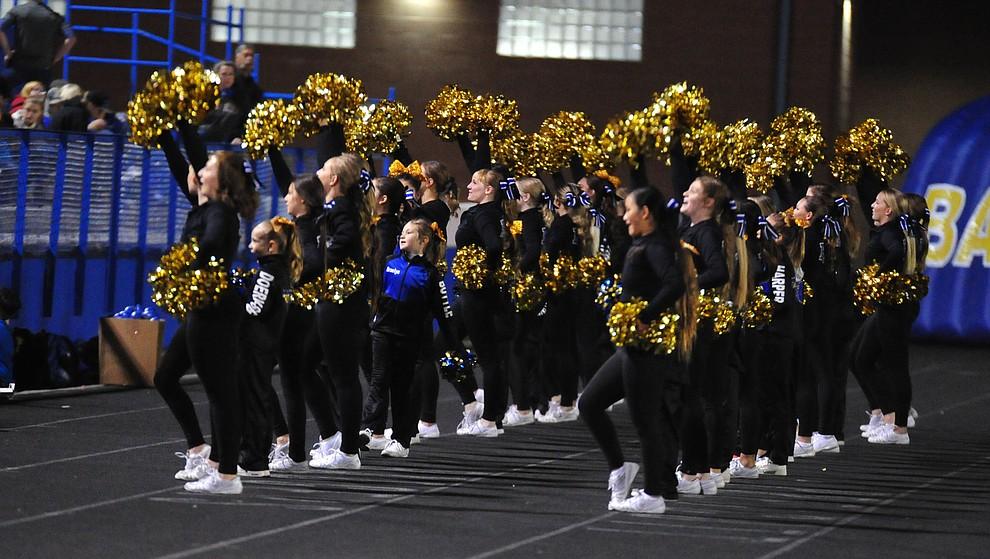 Prescott's cheerleaders as the Badgers play cross mountain rival Mingus for the region title Friday, Oct. 26, 2018 in Prescott. (Les Stukenberg/Courier).