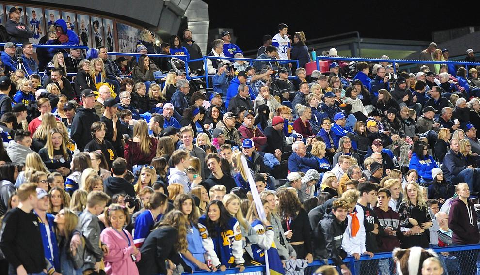 Prescott's fans were loud as the Badgers play cross mountain rival Mingus for the region title Friday, Oct. 26, 2018 in Prescott. (Les Stukenberg/Courier).