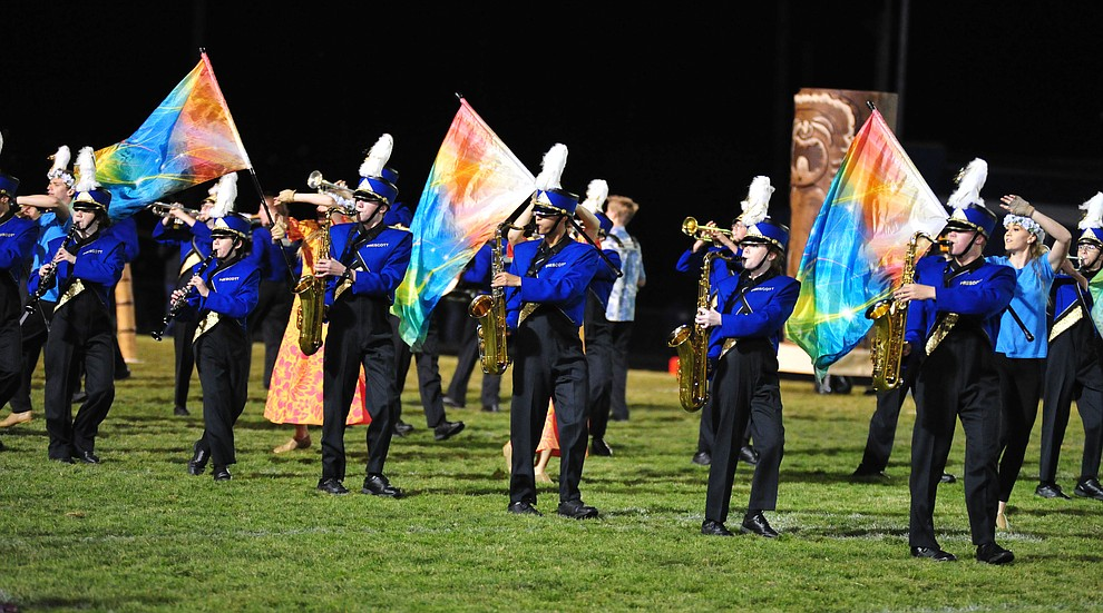 Prescott's Pride of Prescott Marching Band performs at half time as the Badgers play cross mountain rival Mingus for the region title Friday, Oct. 26, 2018 in Prescott. (Les Stukenberg/Courier).