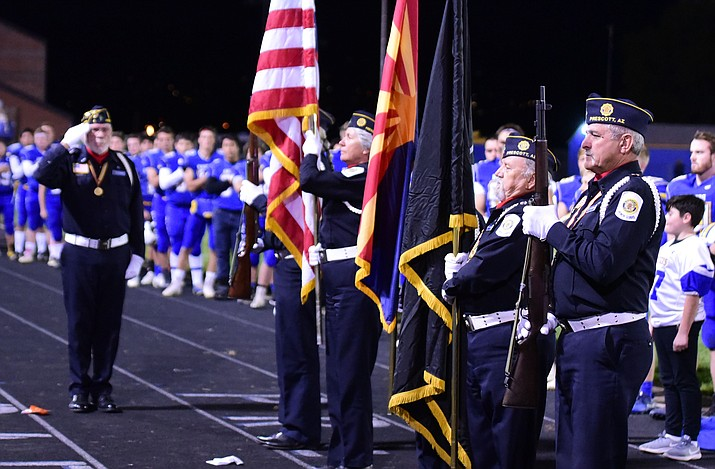 Prescott American Legion Post 6 Color Guard presents the colors before the Badgers take on Lee Williams on Oct. 19, 2018, in Prescott. The Badgers host No. 12-ranked Mingus in the Week 11 regular season finale Friday, Oct. 26, in Prescott. The two clubs will be playing for the Grand Canyon region title. (Les Stukenberg/Courier, file)