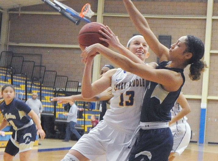 Embry-Riddle guard Melissa Pfeifer takes it hard to the basket during a game last season against Cal-Maritime on Feb. 1, 2018, in Prescott. Pfeifer returns for the 2018-19 Eagles season. (Les Stukenberg/Courier, file)