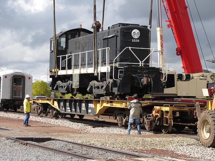 Engine No. 1528 arrives in Williams earlier this year. The engine will be part of exhibits on display at the Arizona State Railroad Museum in Williams. (Submitted photo)