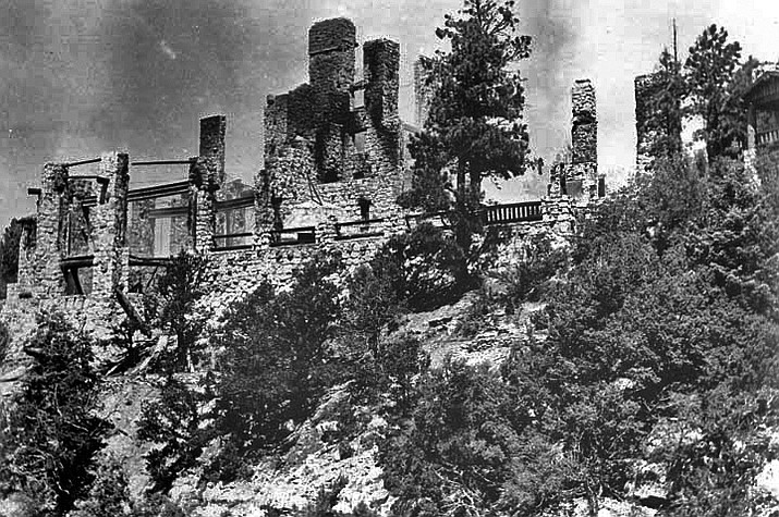 The original Grand Canyon Lodge was completed on the North Rim in 1928. It burned after a kitchen fire in September 1932. (Photo/NPS)