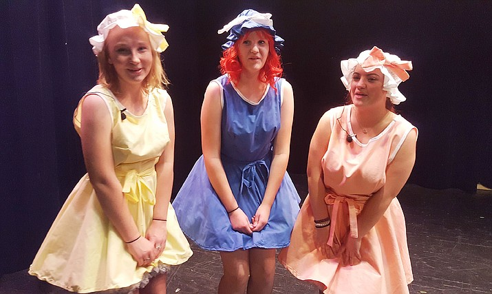 "Harmony Macliroy, left, Grace Stoddard and Brooklynne Danner are among the performers as the BMHS Theatrical Troupe presents ""Big Fish."" (Courtesy)"