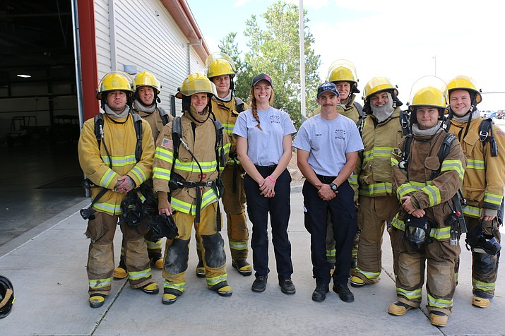 Mikayla Baker and Ethan Hutchison, YC fire science alumni and fire academy technicians, spend their Saturdays training firefighter cadets at the Central Arizona Regional Training Academy in Prescott Valley. (Courtesy)