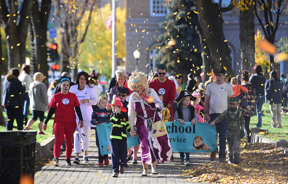 On what was a perfect fall day, students from Lincoln Elementary School in Prescott hold their annual Halloween parade around the Courthouse Plaza in Prescott Wednesday, Oct. 31, 2018.  (Les Stukenberg/Courier).