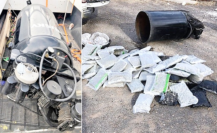 More than 70 pounds of marijuana was found inside an air compressor tank that was in the bed of a truck travelling along Interstate 40 near Ash Fork Monday morning, Oct. 29.