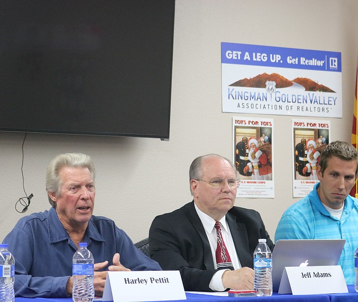 In addition to balloted propositions and economic development, City Council candidates addressed water and the two proposed interchanges at Tuesday's Kingman-Golden Valley Association of Realtors candidate forum. (Photo by Travis Rains/Daily Miner)