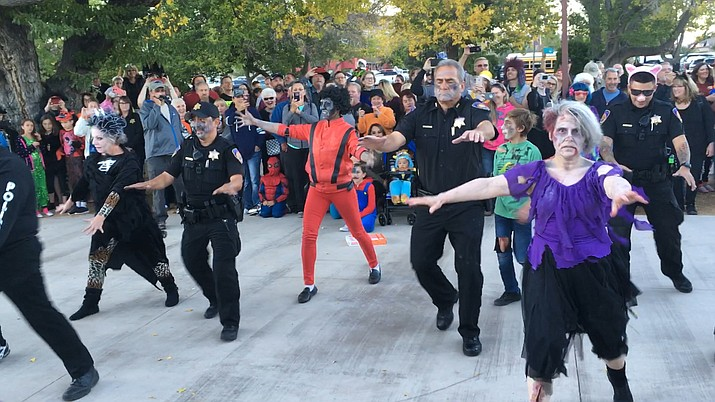 Zombies take over Clarkdale on Wednesday night as Clarkdale Police join on the fun. A bus full of zombies were last seen leaving for Uptown Sedona Wednesday night for a 6 p.m. Halloween  performance. VVN/Vyto Starinskas