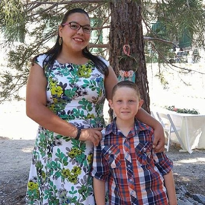 Jessica Orozco, shown with her nephew, James, in an undated photo, was pronounced dead at KRMC after sheriff's deputies responded to a weapons offense late Saturday night in Golden Valley. (Courtesy)
