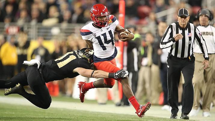 Arizona quarterback Khalil Tate set an FBS record with 327 yards rushing last season against Colorado. (File photo courtesy of Arizona Athletics)