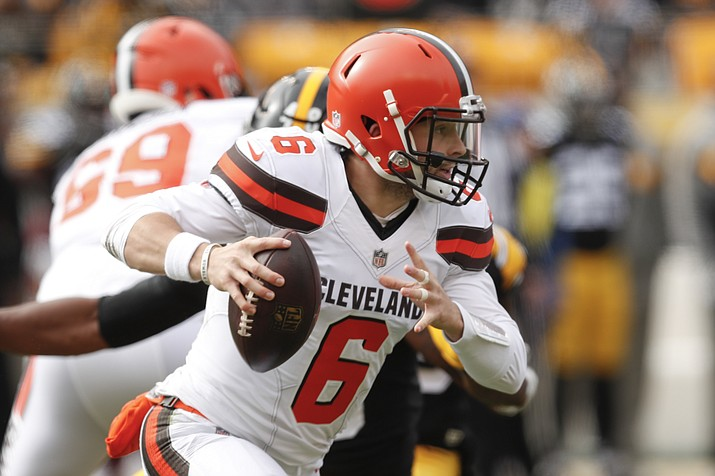 Cleveland Browns quarterback Baker Mayfield plays against the Pittsburgh Steelers in their game Sunday, Oct. 28, 2018, in Pittsburgh. (Don Wright/AP)
