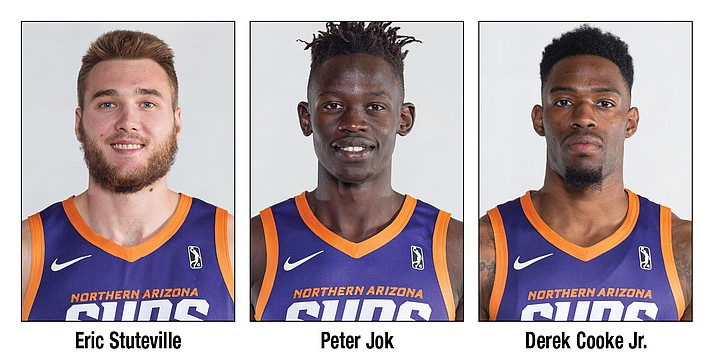 Eric Stuteville, Peter Jok and Derek Cooke Jr. are three returning players looking to lead the Northern Arizona Suns in 2018-19. The NBA G League club out of Prescott Valley announced its 2018-19 roster Thursday, Nov. 1, 2018. (NAZ Suns/Courtesy)