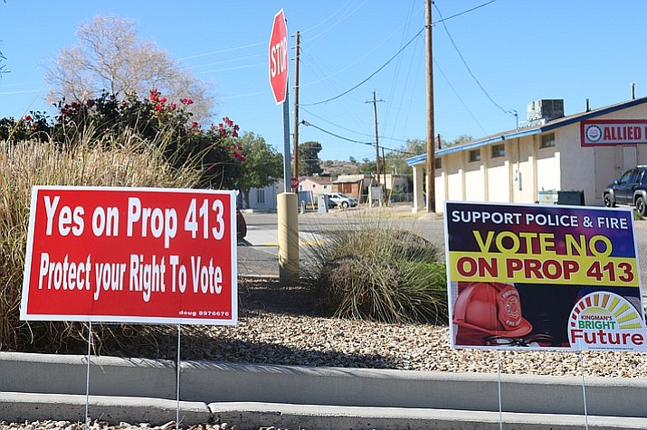 "Kingman resident Gayle Salmon urges her fellow citizens to vote ""yes"" on City Prop 412 and ""no"" on City Prop 413. (Daily Miner file photo)"