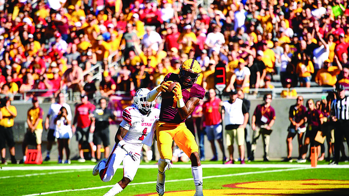 ASU's N'Keal Harry racked up 161 yards and three touchdowns Saturday in a 38-20 win over No. 16 Utah. (Photo courtesy of ASU Athletics)