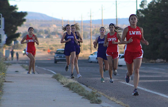 The Lee Williams High School girls cross country team continued its success at the Division III, Section III Sectionals with a third-place finish. Darleen Bland, shown at front, ran a 21:43.7 for seventh place. (Daily Miner file photo)