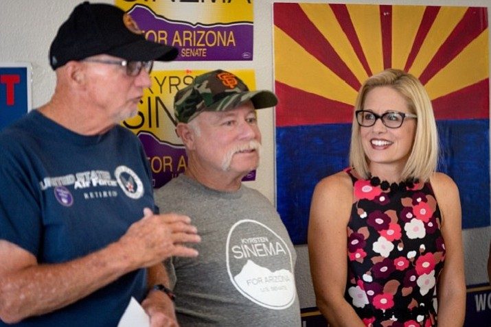 With less than a week until Election Day, Democratic U.S. Senator candidate Kyrsten Sinema met with veterans in Central Phoenix. Sinema and Republican Martha McSally are taking different approaches to the campaign, with Sinema focusing on retail politics and McSally rallying with high profile Republicans like Donald Trump Jr. (kyrstensinema.com photo)