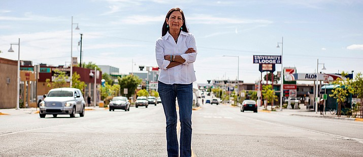 In this June 5, 2018, file photo, Deb Haaland poses for a portrait in a Nob Hill Neighborhood in Albuquerque, N.M. (Juan Labreche/AP, file)