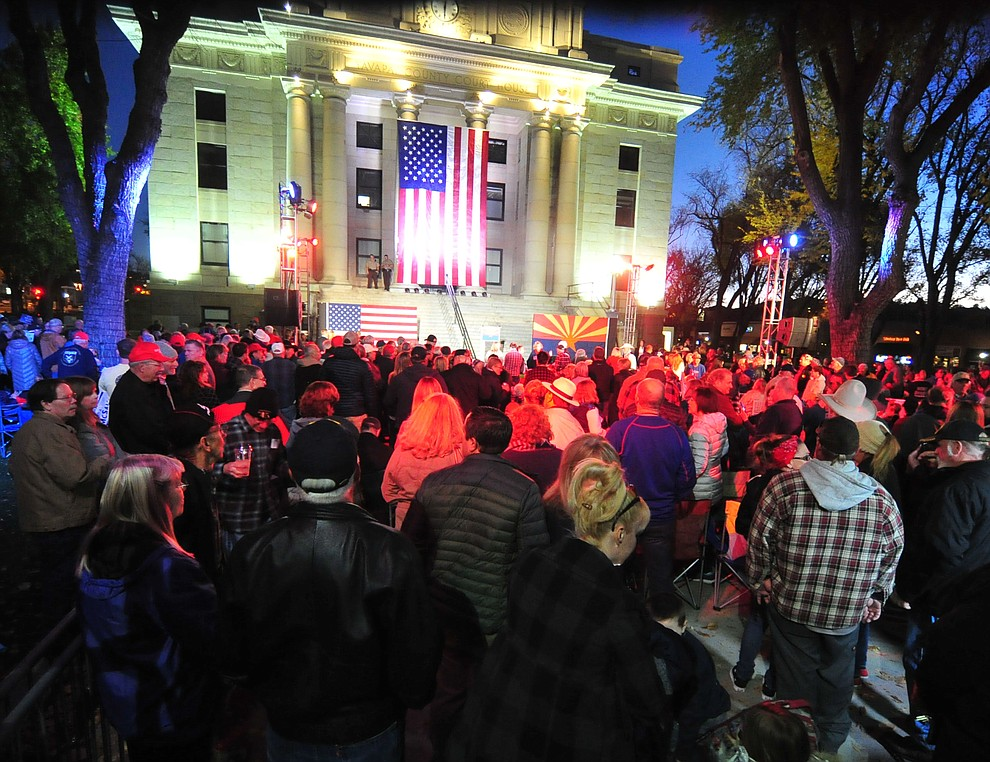 The crowd waits for the speakers during a Republican rally on the Yavapai County Courthouse steps Monday, Nov. 5, 2018 in Prescott.  (Les Stukenberg/Courier).